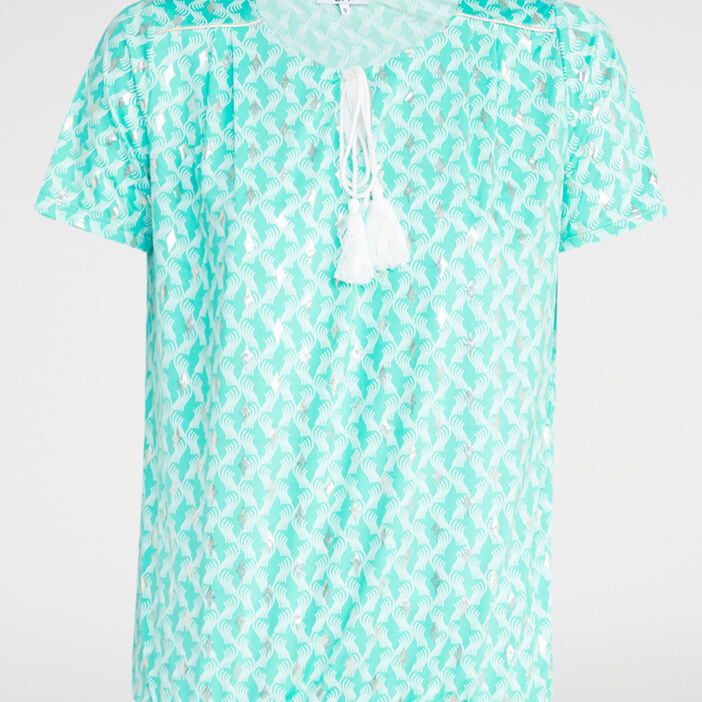 T-shirt imprimé avec lien pompon femme bleu turquoise
