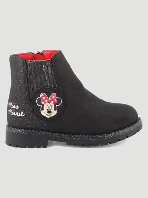Bottines zippees Minnie noir bebe