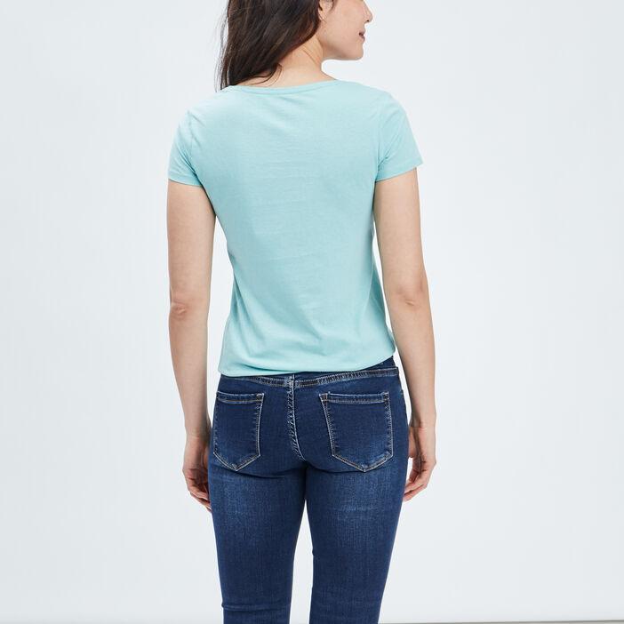 T-shirt manches courtes femme bleu turquoise