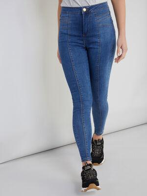 Jean skinny avec coutures fantaisie denim double stone femme