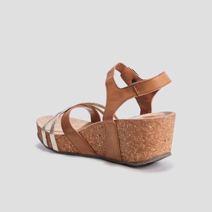 Sandales plateformes en cuir femme marron