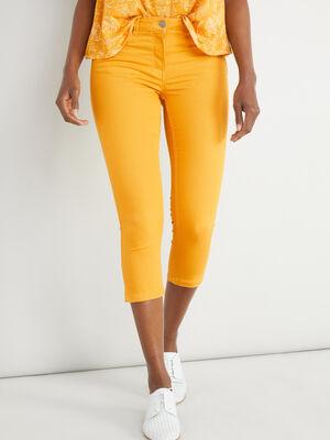 Pantacourt slim uni jaune moutarde femme