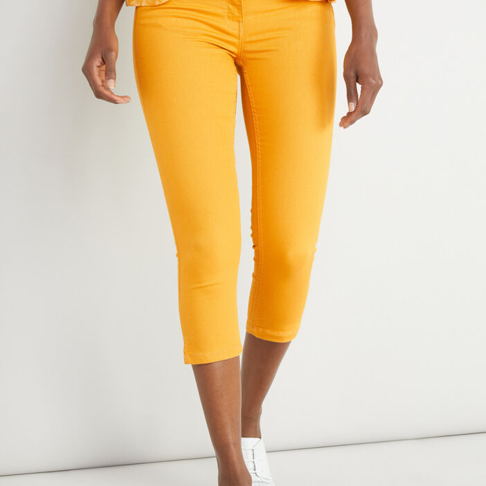 Pantacourt slim uni femme jaune moutarde