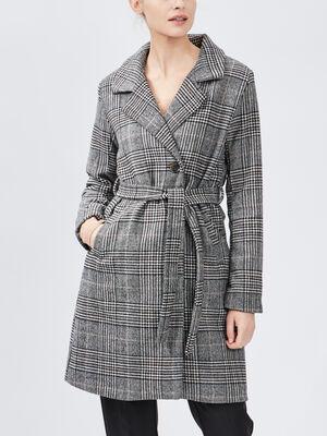 Manteau droit ceinture multicolore femme