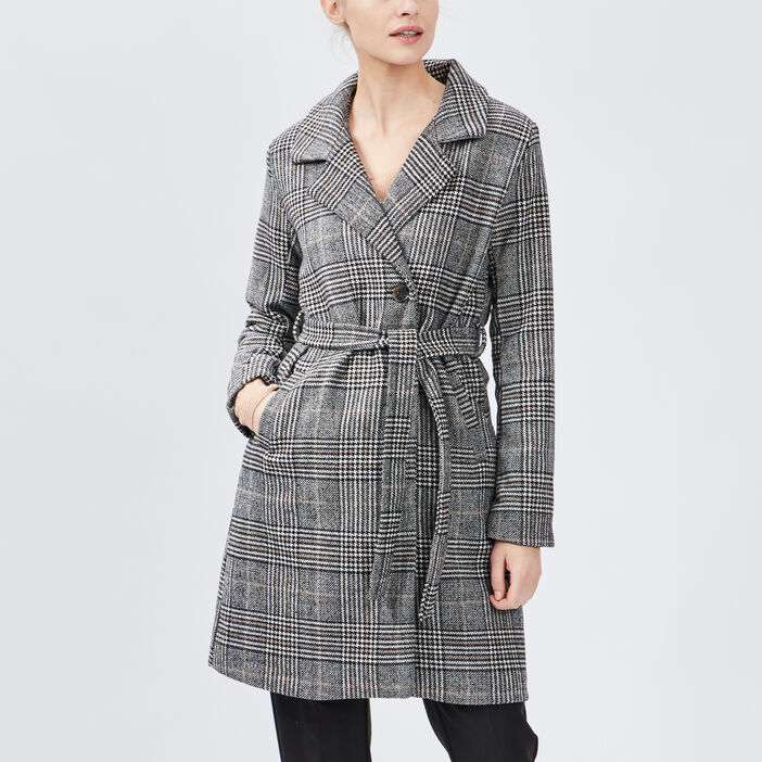 Manteau droit ceinturé femme multicolore