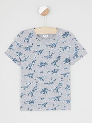 T shirt imprime manches courtes gris garcon