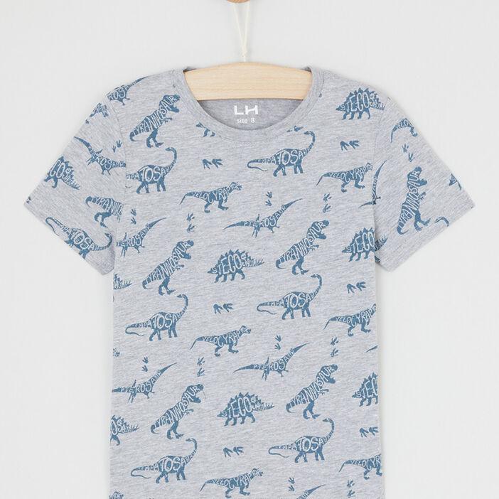 T-shirt imprimé manches courtes garçon gris
