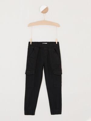 Pantalon de jogging uni multipoches noir garcon