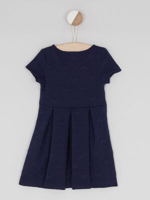 Robe patineuse unie coeur relief bleu marine fille