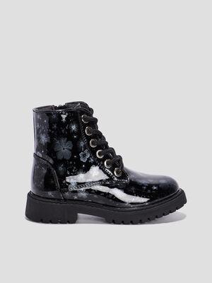 Boots motardes vernies a fleurs noir fille