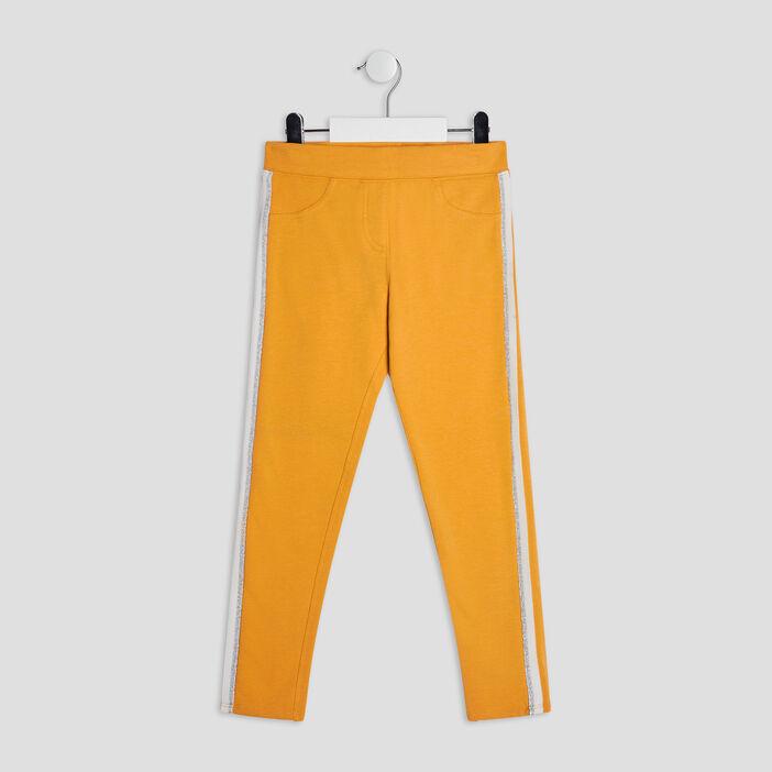 Pantalon jogging avec bandes fille jaune moutarde