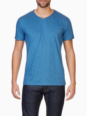 T shirt manches courtes col rond bleu homme