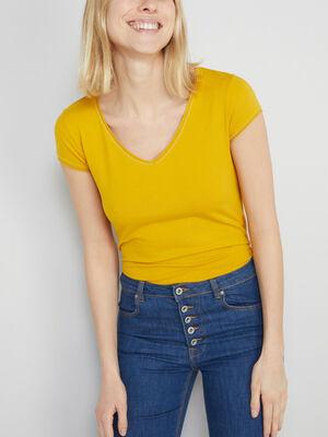 T shirt avec lisere contraste jaune moutarde femme