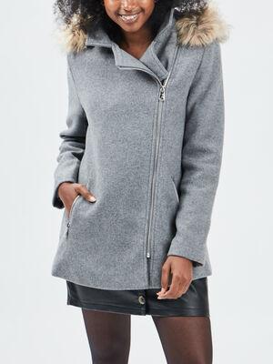 Manteau ample a capuche gris clair femme