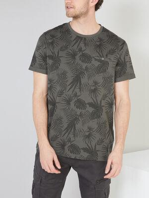 T shirt coton imprime feuillage vert kaki homme