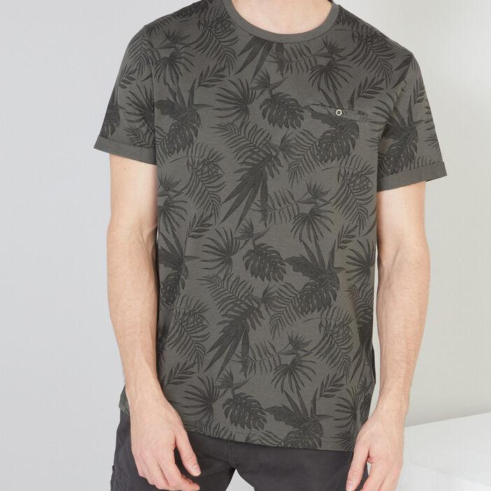 T-shirt coton imprimé feuillage homme vert kaki