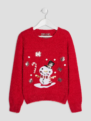 Pull mailles duveteuses rouge fille