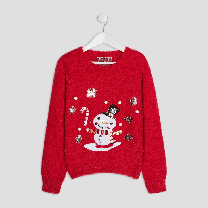 Pull mailles duveteuses fille rouge