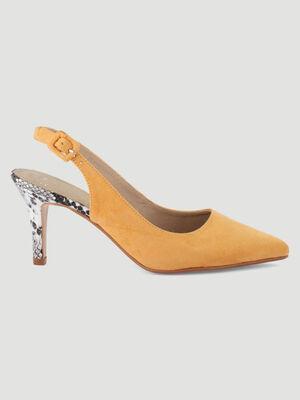 Escarpins suedes talon python jaune femme