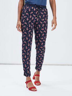 Pantalon droit avec lien bleu marine femme