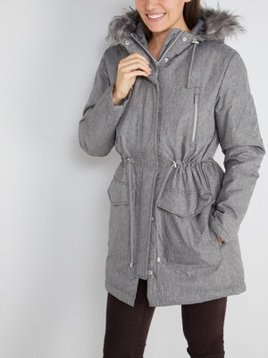 Parka chinee capuche bord fourree gris femme