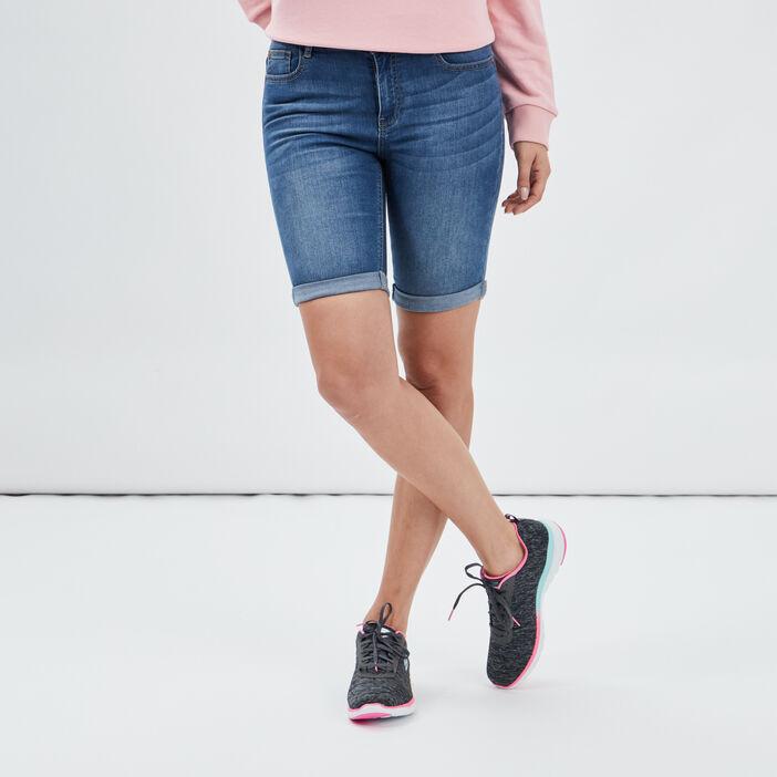 Bermuda slim en jean femme denim stone