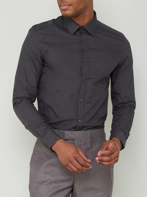 Chemise droite unie manches longues gris fonce homme