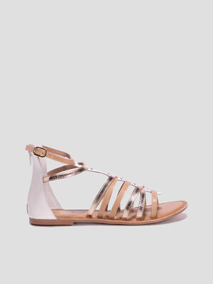 Sandales spartiates en cuir blanc femme