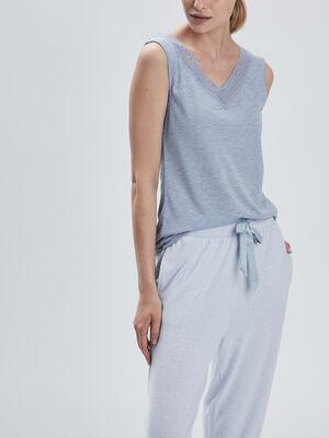 Haut de pyjama bleu ciel femme