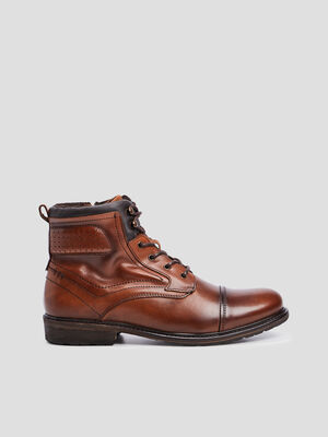 Bottines en cuir marron homme