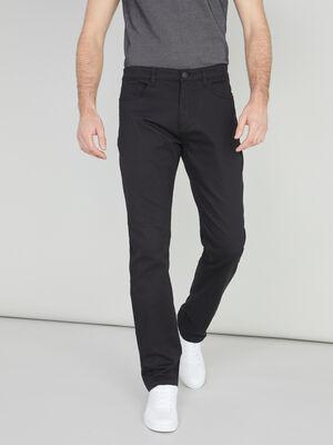 Pantalon regular uni coton majoritaire noir homme