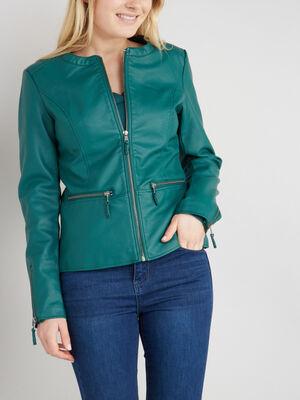 Veste zippee avec decoupes vert emeraude femme