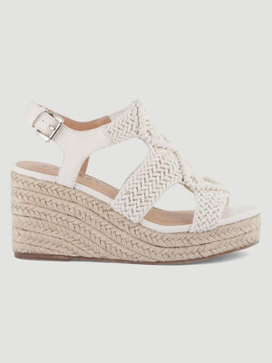 Sandales compensees dessus style crochet blanc femme