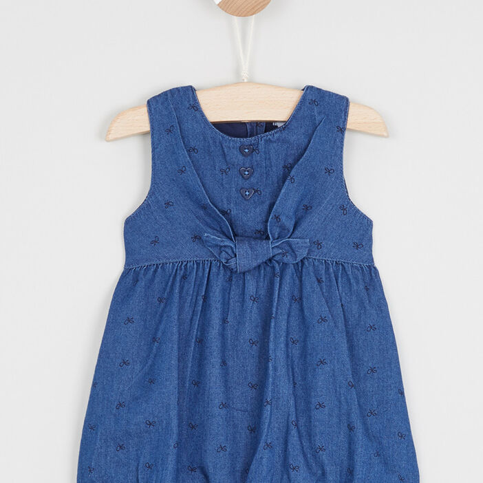 Robe boule en denim imprimé bébé fille denim double stone