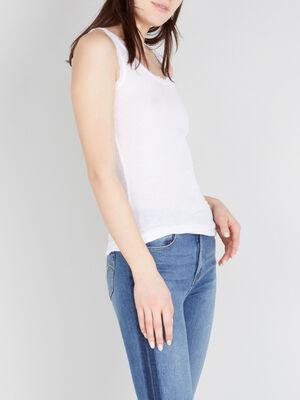Debardeur bordures dentelle blanc femm