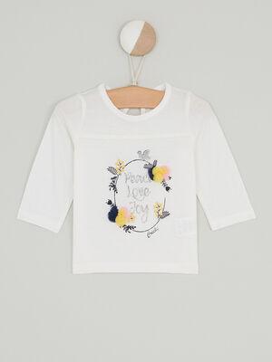 T shirt coton avec sequins et pompons ecru fille