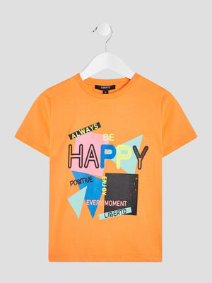 T shirt Liberto orange fluo garcon