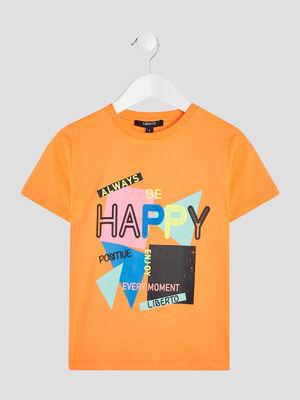 T shirt Liberto orange fluo garcon