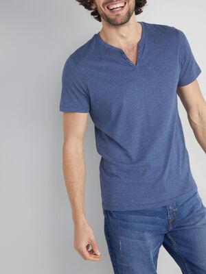 T shirt col tunisien uni bleu homme