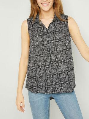 Chemise sans manches motifs geometriques noir femme