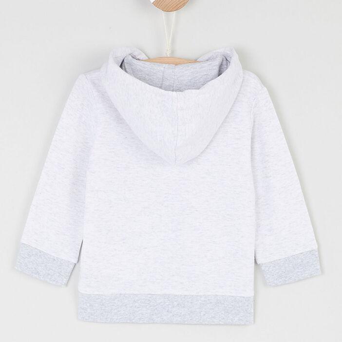 Veste zippée capuche coton majoritaire bébé garçon ecru