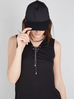 Casquette unie en coton noir femme