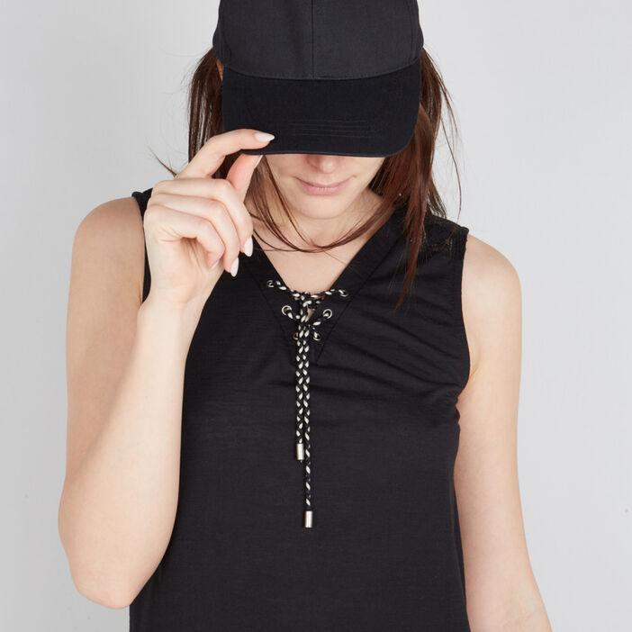 Casquette unie en coton femme noir