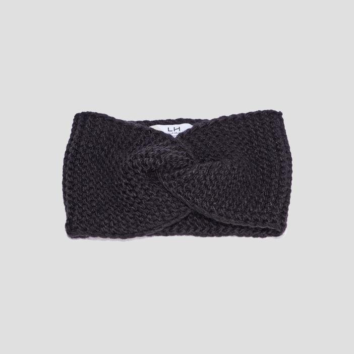 Bandeau tricoté femme noir
