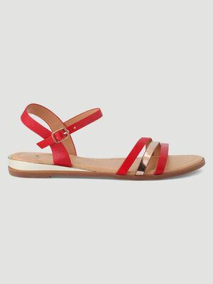 Sandales plates brides multi texturees rouge femme