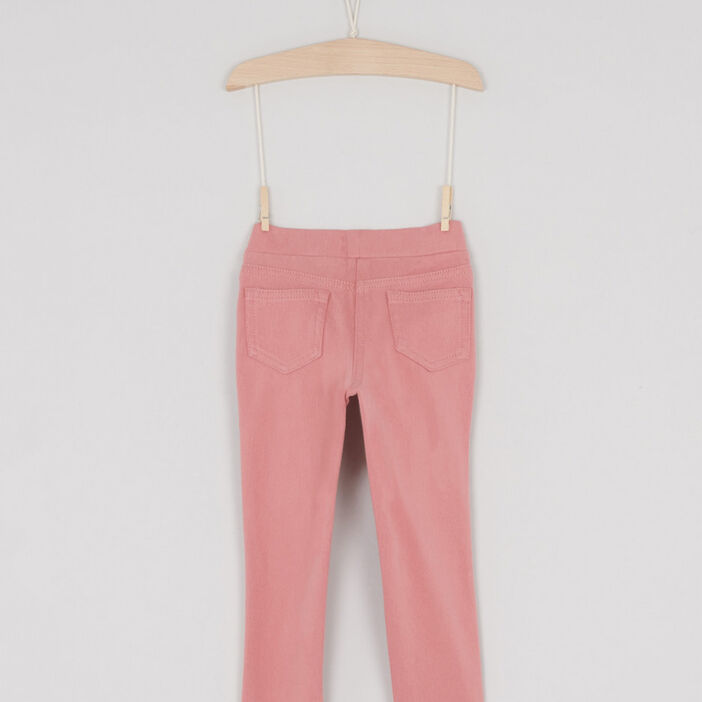 Jegging uni 4 poches fille rose
