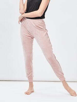 Pantalon de pyjama velours rose femme