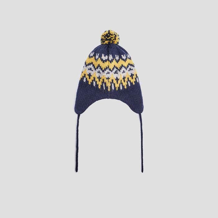 Bonnet péruvien à pompon mixte bleu marine