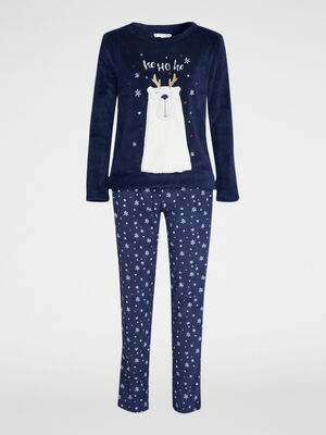 Ensemble pyjama t shirt pantalon bleu marine femme
