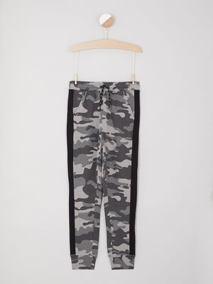 Jogging camouflage bandes contrastantes gris garco
